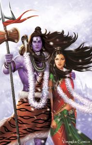 Shiva with his consort Parvati | Image: Vimanika Comics